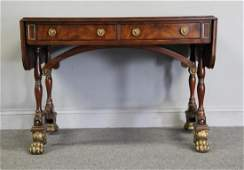 Regency Style Banded Sofa Table Raised on
