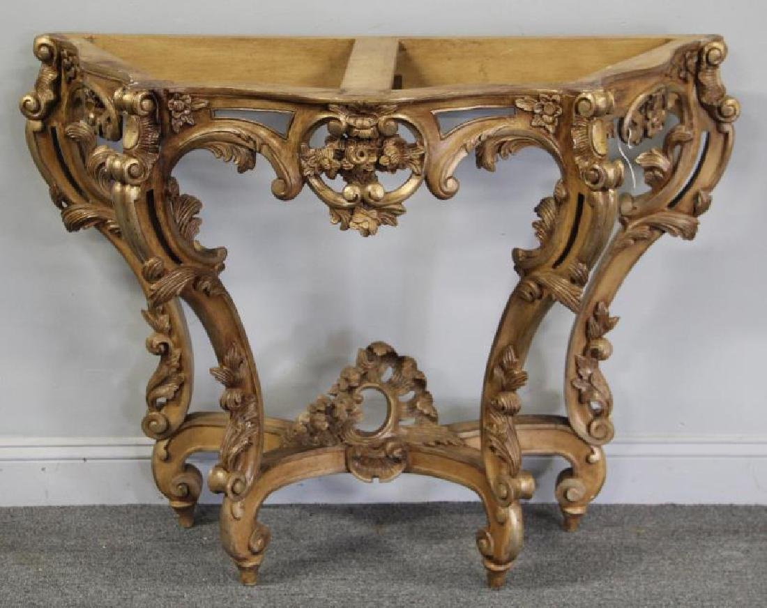 Roccocco Carved Wood Marble Top Console. - 4