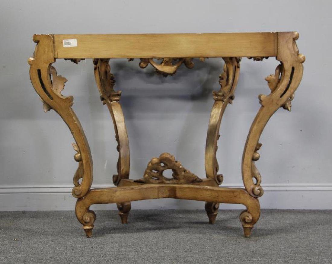Roccocco Carved Wood Marble Top Console. - 6