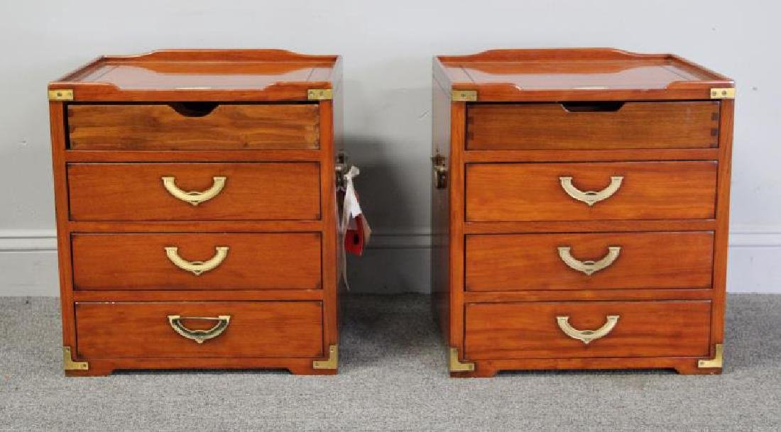 STARBAY. Pair of Campaign Style End Tables.