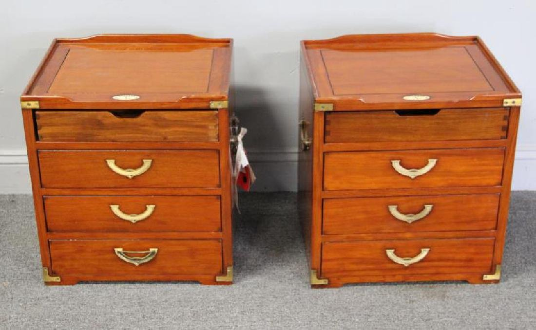 STARBAY. Pair of Campaign Style End Tables. - 2
