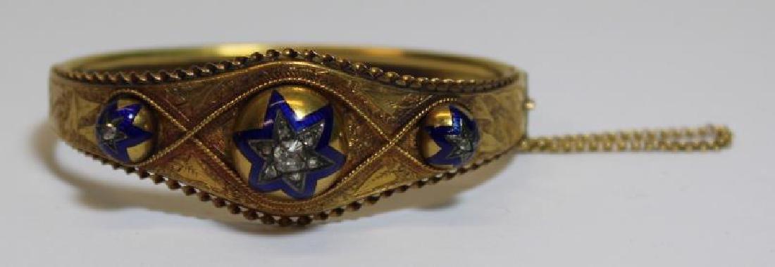 JEWELRY. Victorian Enamel and Rose Cut Diamond