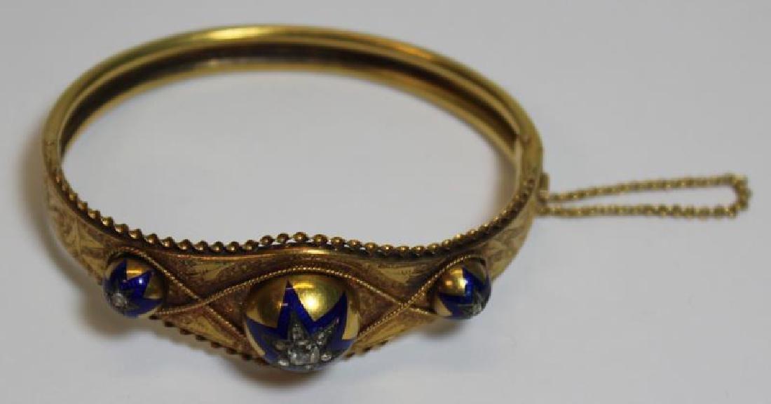 JEWELRY. Victorian Enamel and Rose Cut Diamond - 3