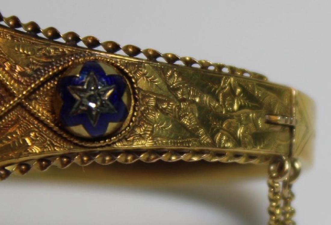 JEWELRY. Victorian Enamel and Rose Cut Diamond - 6