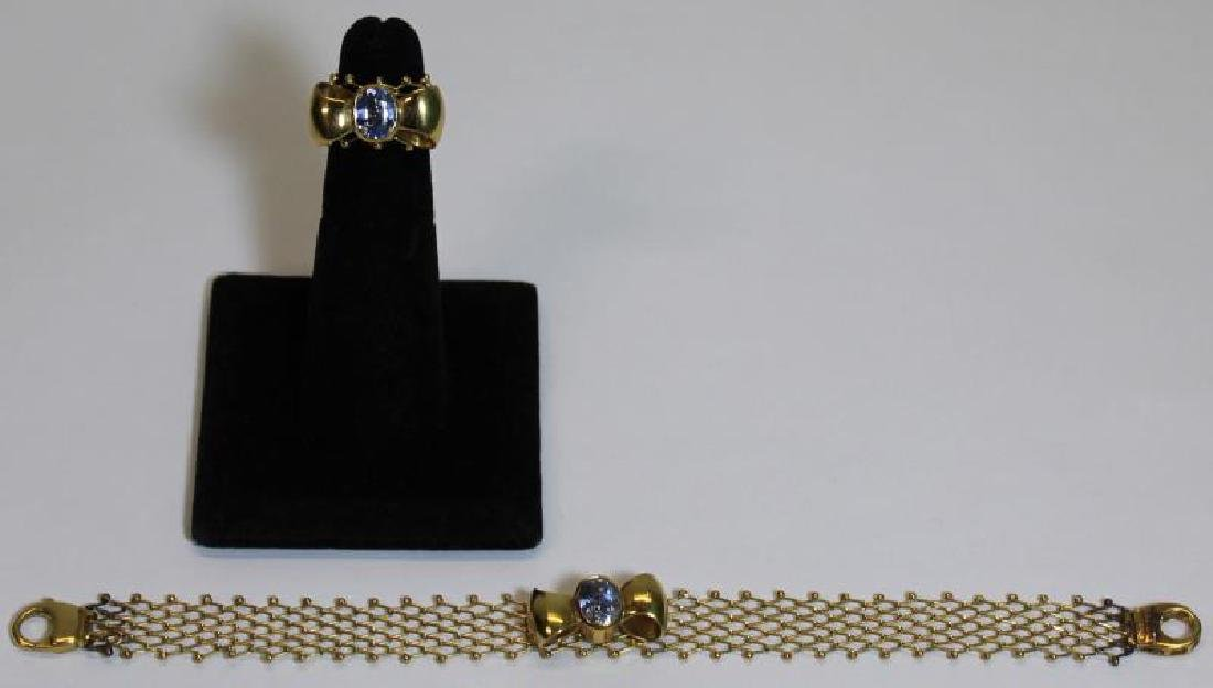 JEWELRY. Signed Italian 18kt Gold and Tanzanite?