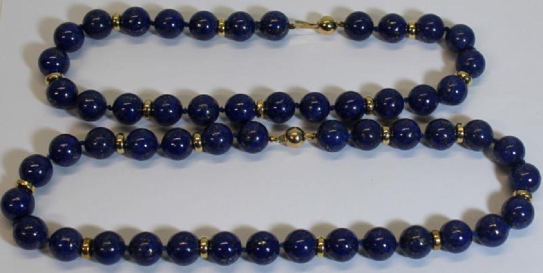 JEWELRY. Pair of 14kt and Lapis Beaded Necklaces.