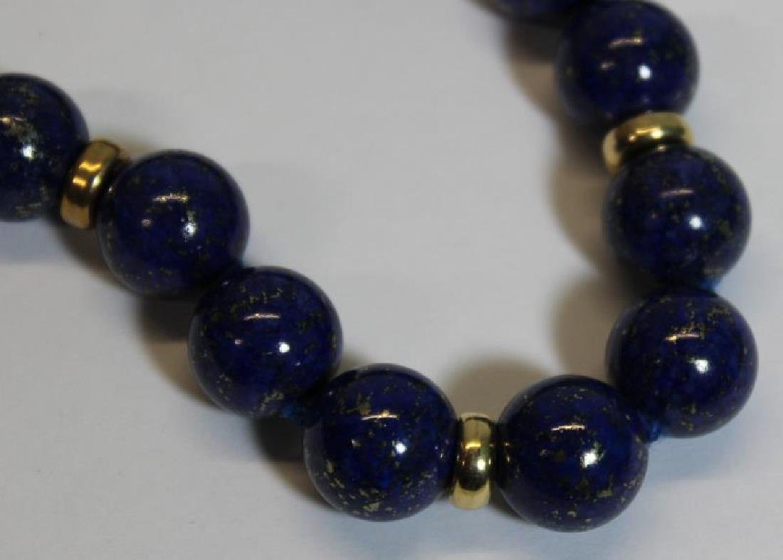 JEWELRY. Pair of 14kt and Lapis Beaded Necklaces. - 2
