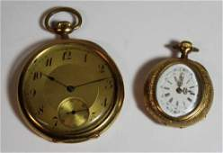 JEWELRY. Antique 18kt Gold Pocket Watch Grouping.