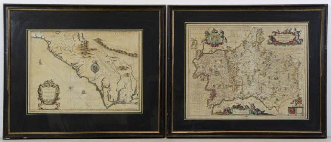 "2 Antique Engraved Maps. ""A New Description of"