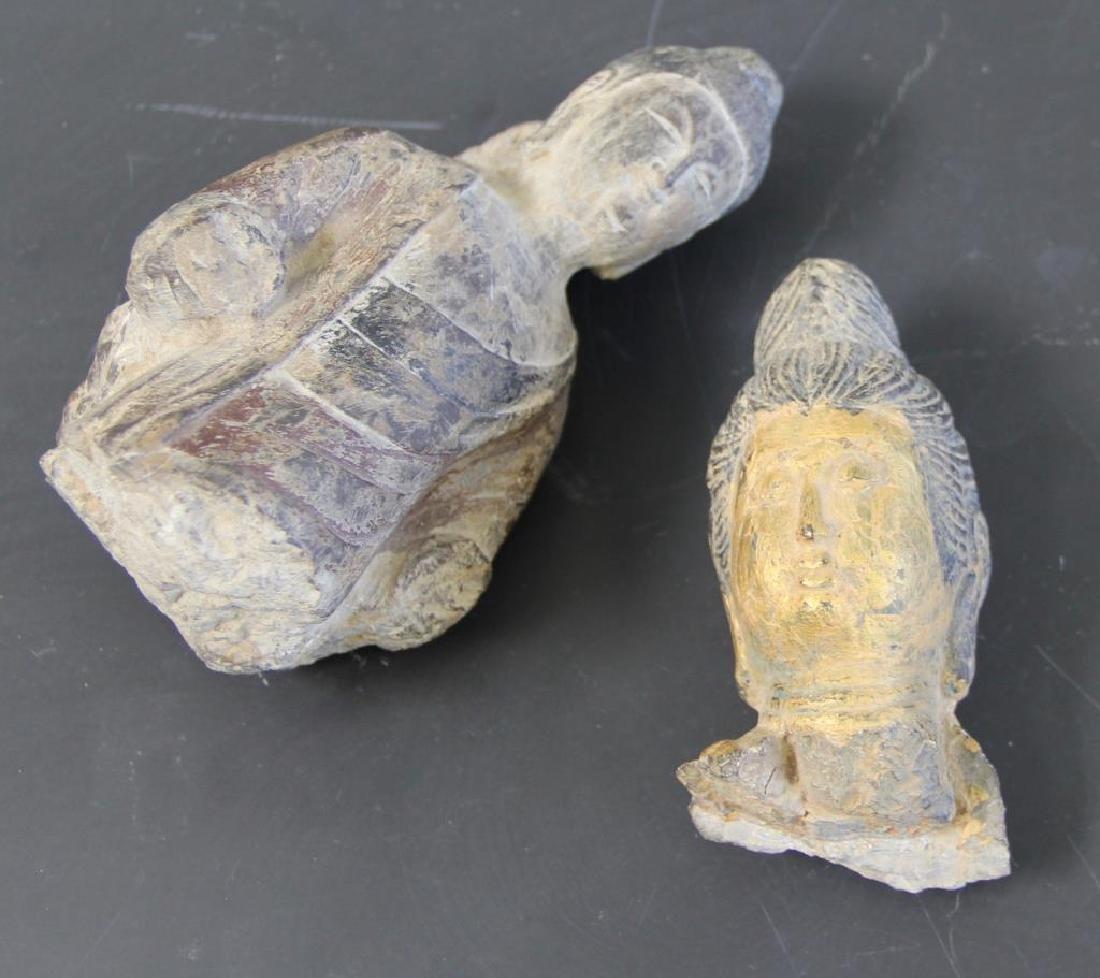 Pair of Stone Buddha Heads.