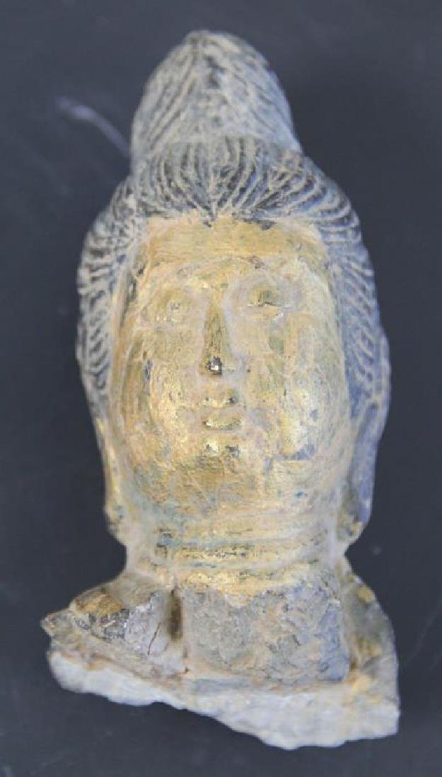 Pair of Stone Buddha Heads. - 2