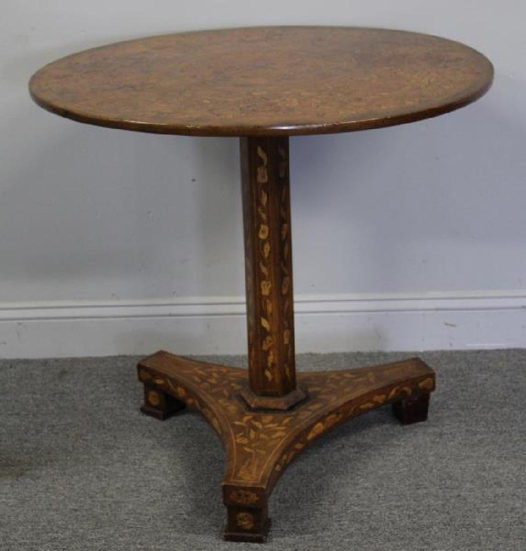 19 Century Dutch Marquetry Inlaid Center Table