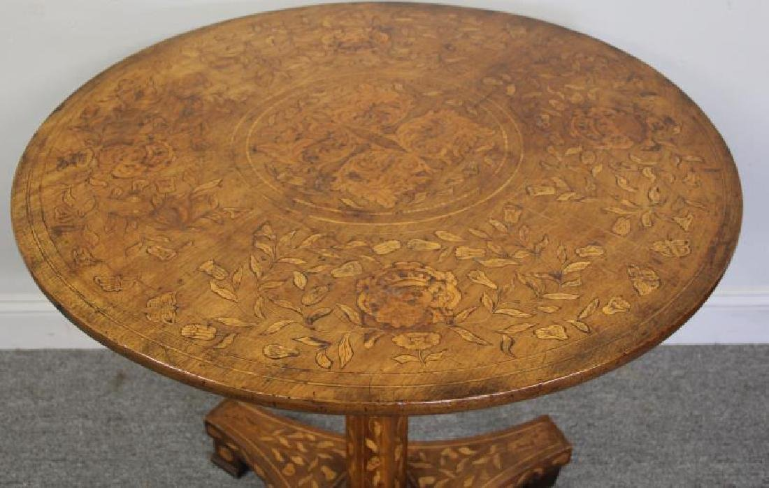 19 Century Dutch Marquetry Inlaid Center Table - 2