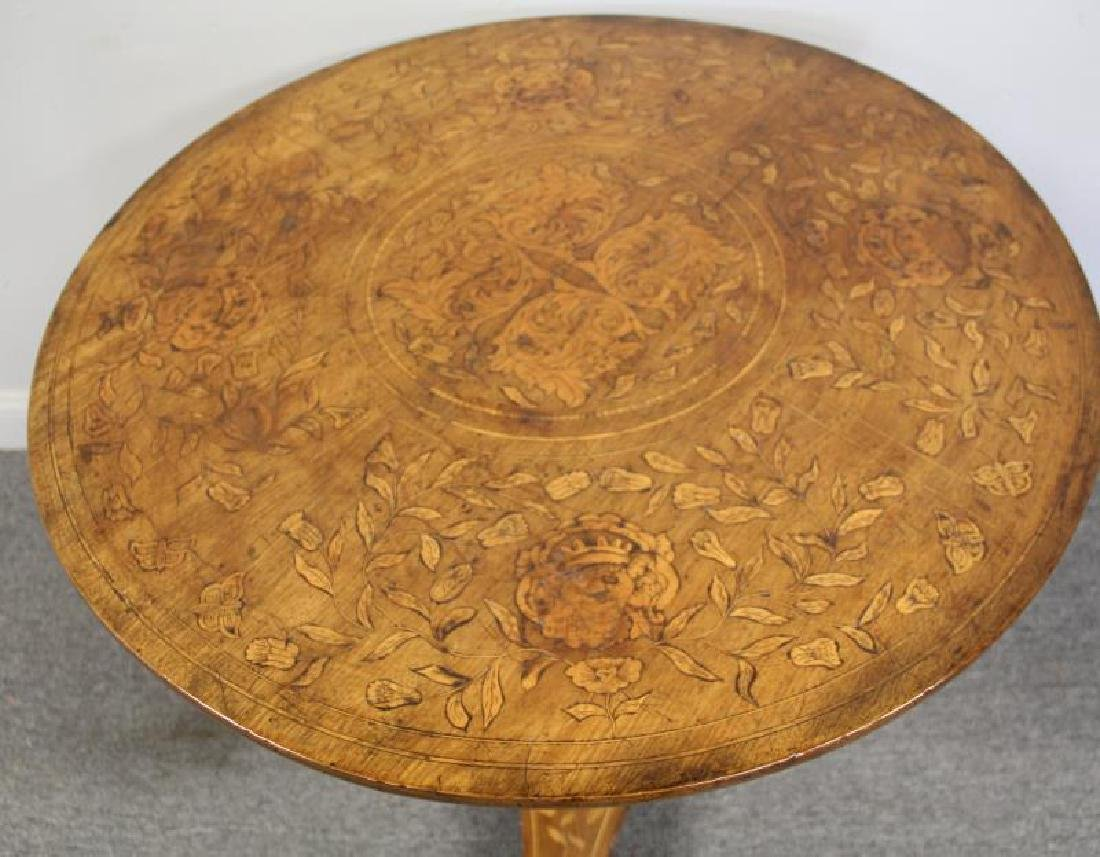 19 Century Dutch Marquetry Inlaid Center Table - 3