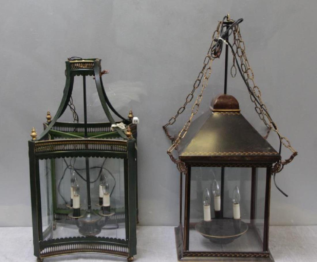 RINFRET, 2 tole and glass Hurricane Chandeliers .