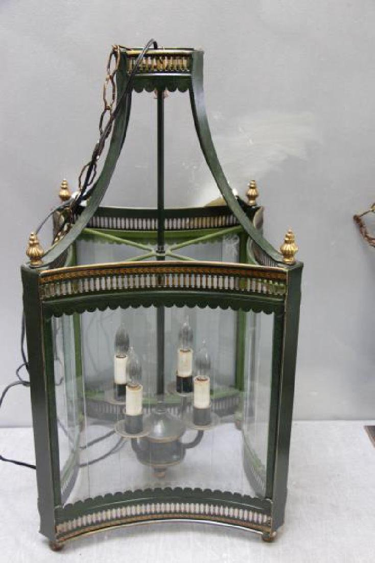 RINFRET, 2 tole and glass Hurricane Chandeliers . - 3