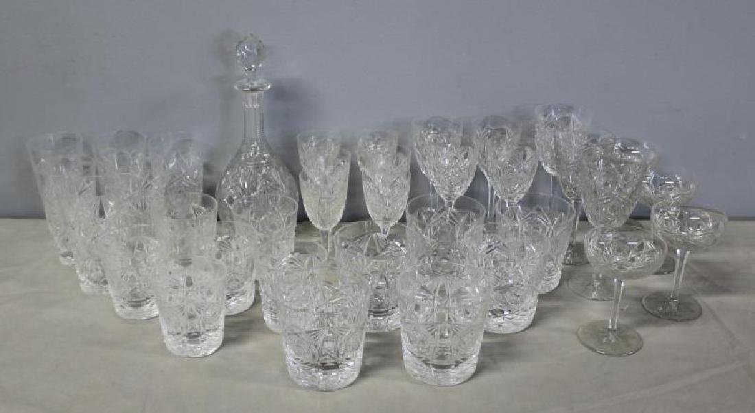 Baccarat Lagney Crystal Stemware and Decanter.