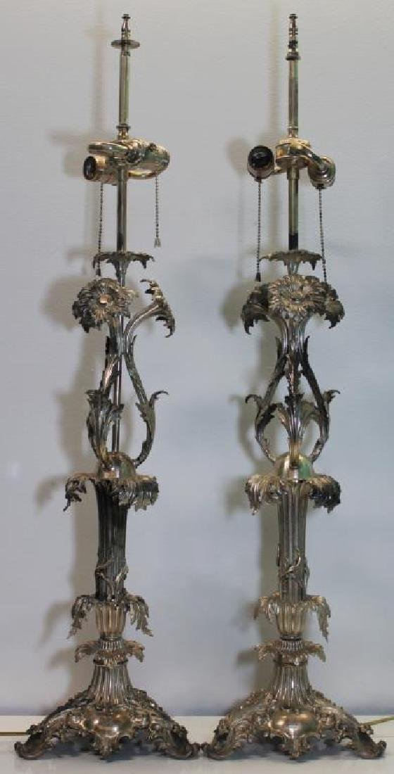 SILVER-PLATED. Pair of B & Co Silver-Plated Lamps.