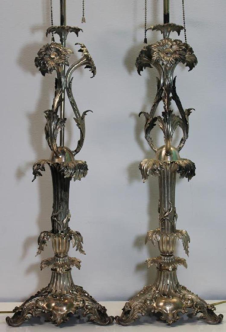 SILVER-PLATED. Pair of B & Co Silver-Plated Lamps. - 2