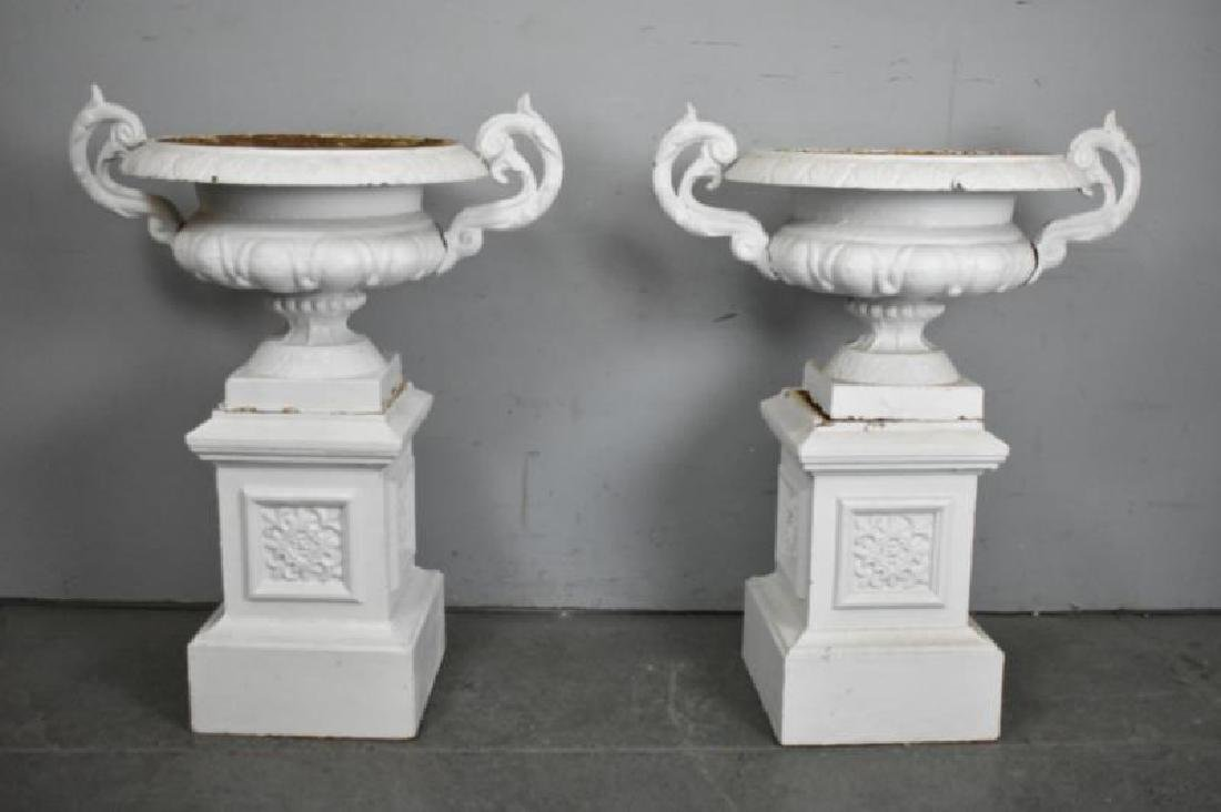 Pair of Cast Iron Urns on Stands.