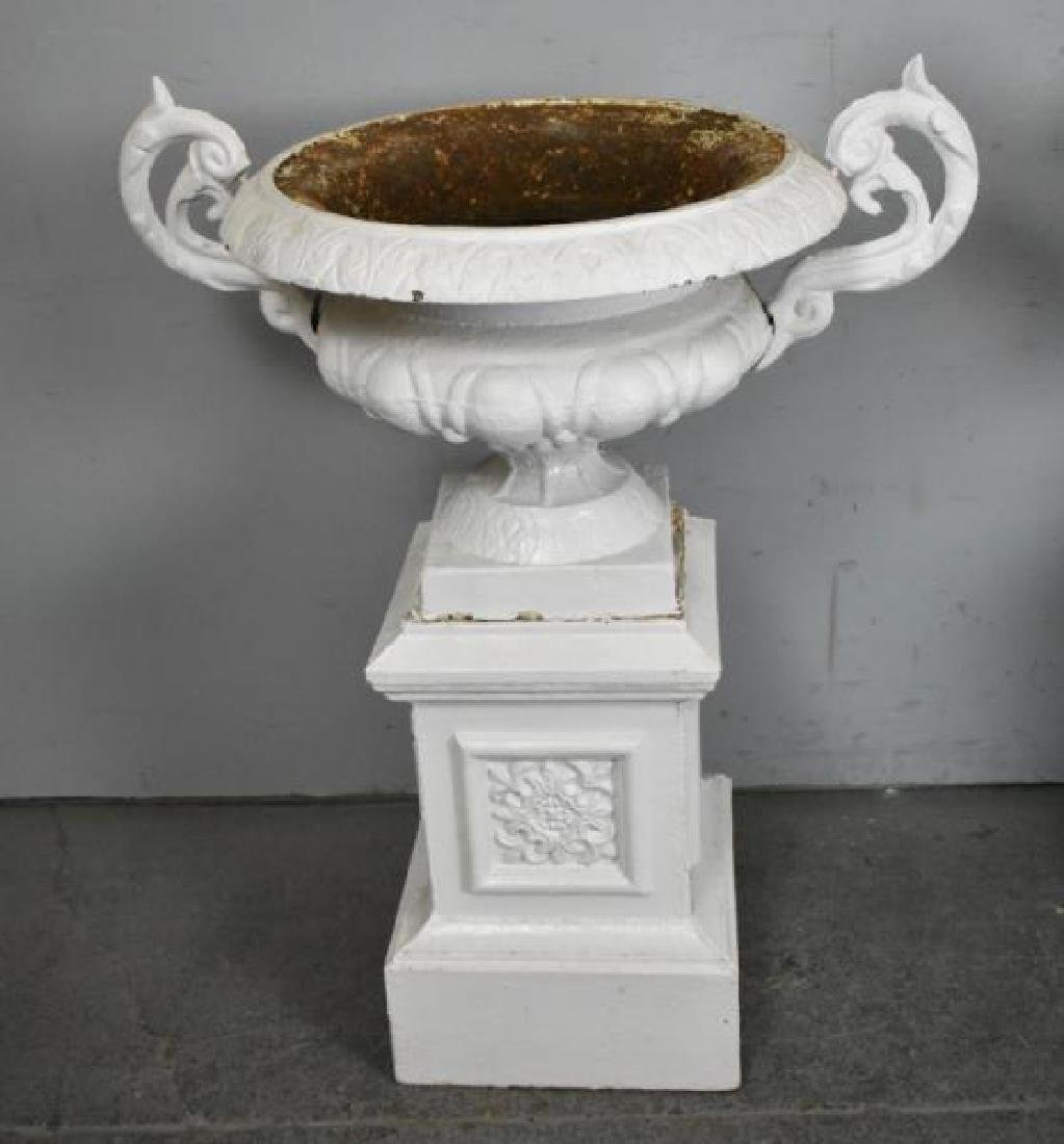 Pair of Cast Iron Urns on Stands. - 3