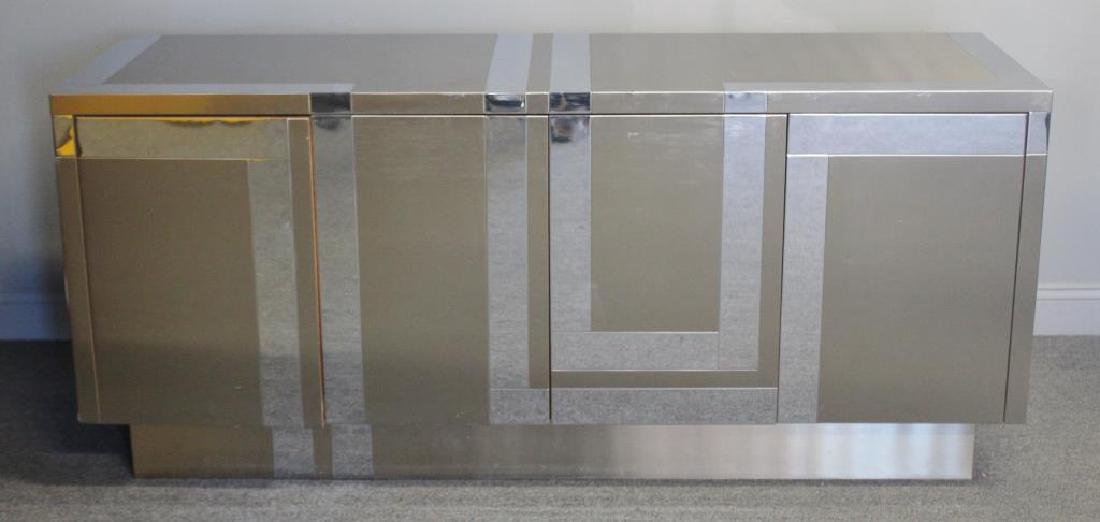 Midcentury Chrome and Stainless Steel Sideboard.