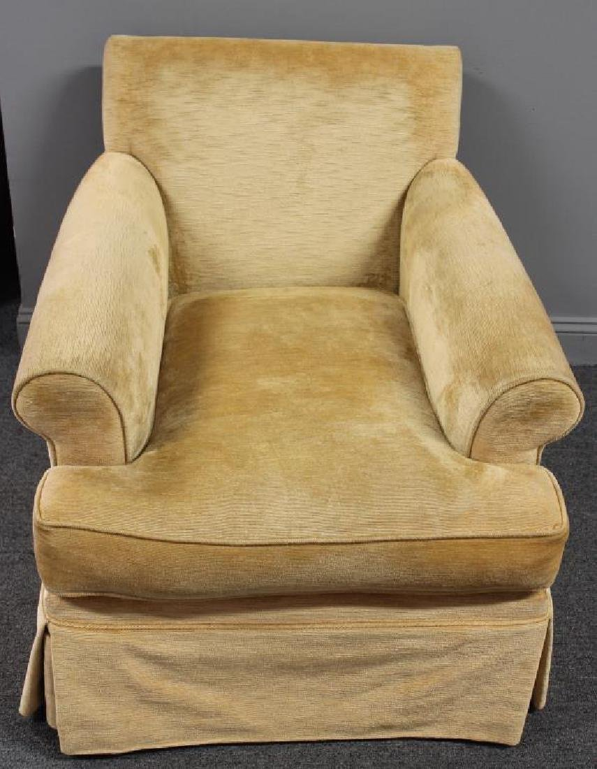 Pair Of Custom Quality Velvet Upholstered Club - 2