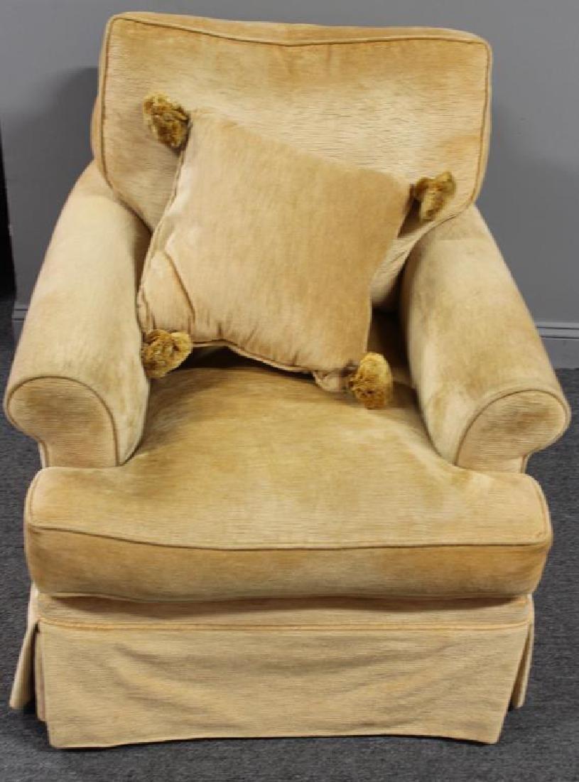 Pair Of Custom Quality Velvet Upholstered Club - 5