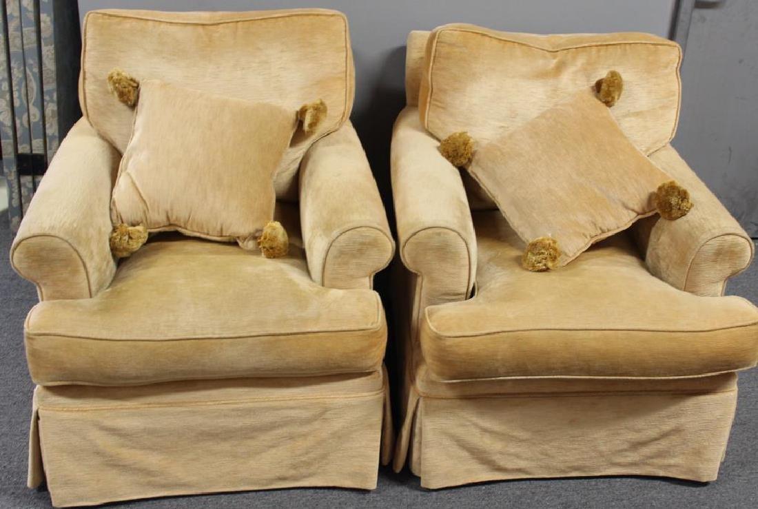 Pair Of Custom Quality Velvet Upholstered Club - 6