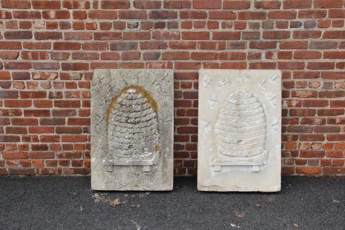 2 Stone Architectural Elements with Bee Hive