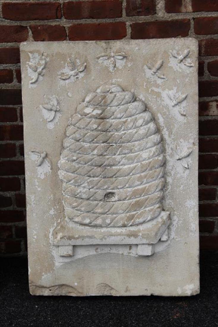 2 Stone Architectural Elements with Bee Hive - 3