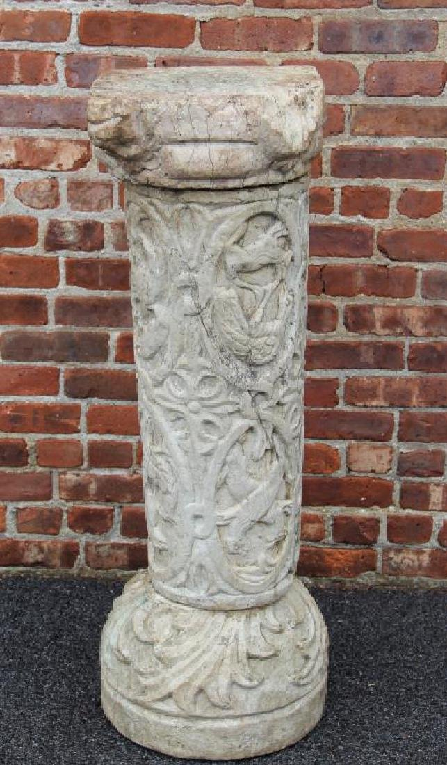 Antique Carved Marble Pedestal In 3 Pieces