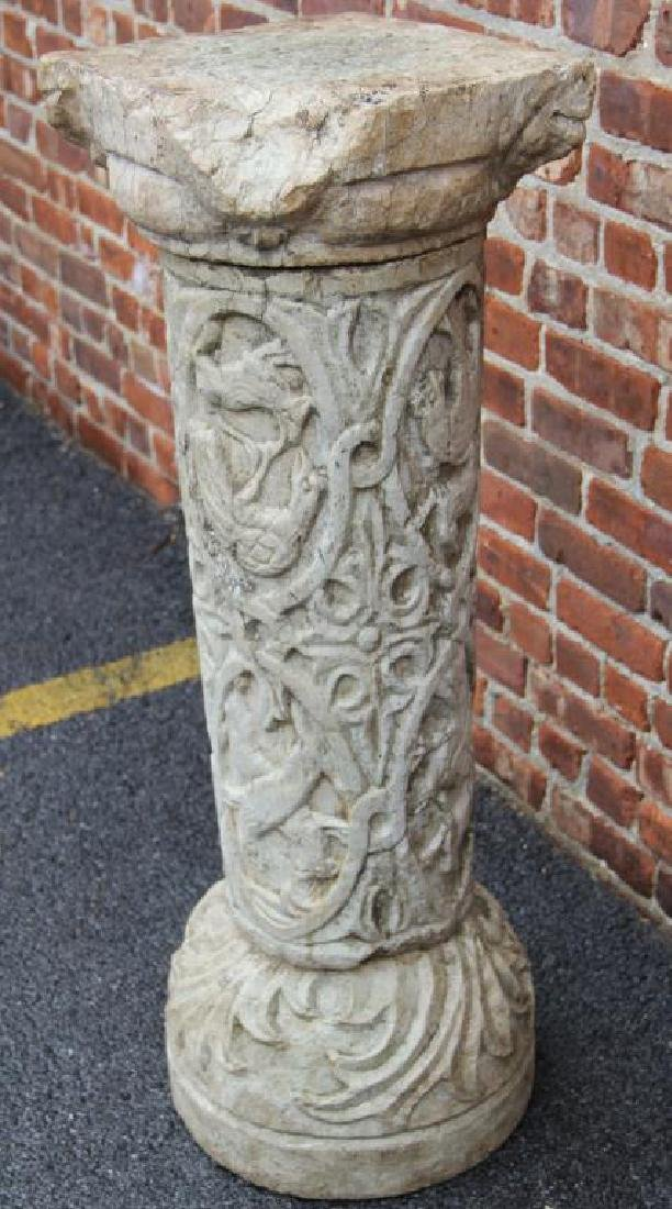 Antique Carved Marble Pedestal In 3 Pieces - 2