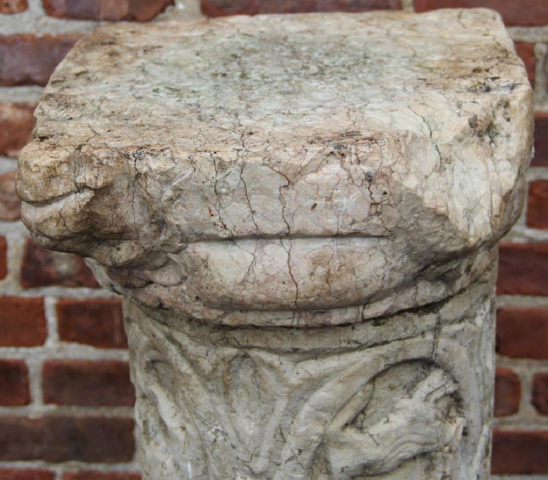 Antique Carved Marble Pedestal In 3 Pieces - 4