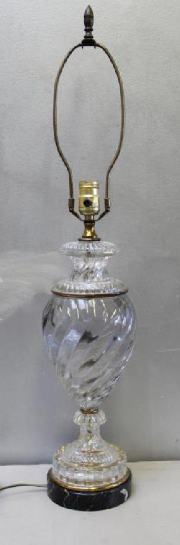 Attrib to Baccarat Glass Urn Form Table Lamp.