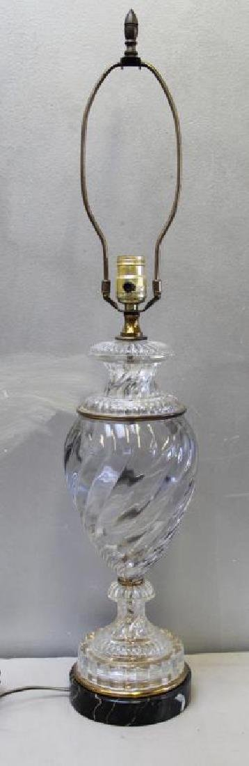 Attrib to Baccarat Glass Urn Form Table Lamp. - 2