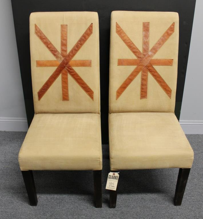 Pair of Upholstered Highback Chairs with Applied