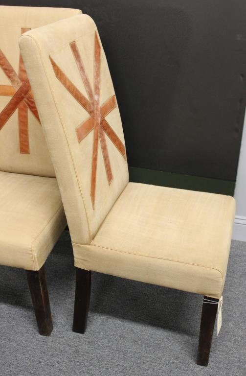 Pair of Upholstered Highback Chairs with Applied - 3