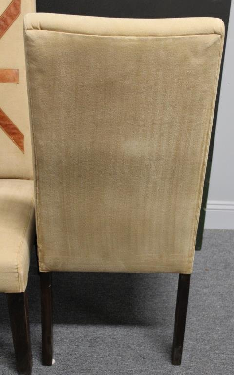 Pair of Upholstered Highback Chairs with Applied - 4