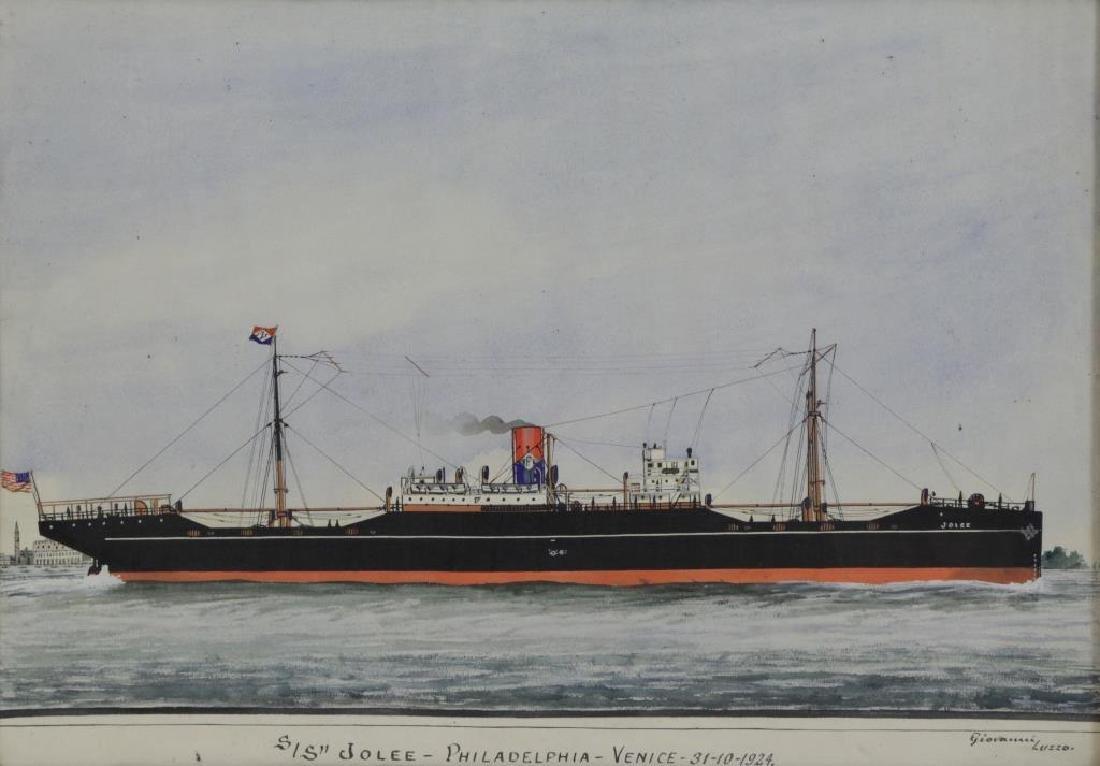 """LUZZO, Giovanni. Watercolor. """"SS Jolee -"""