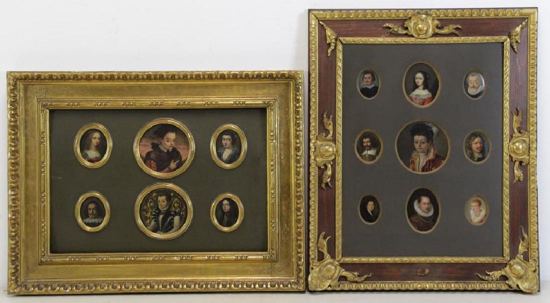 Two Framed Collections of Antique Miniature