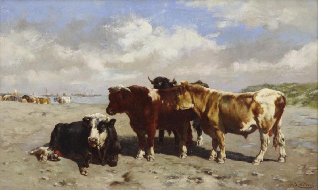 DE HAAS, Johannes. Oil on Canvas. Cattle on the