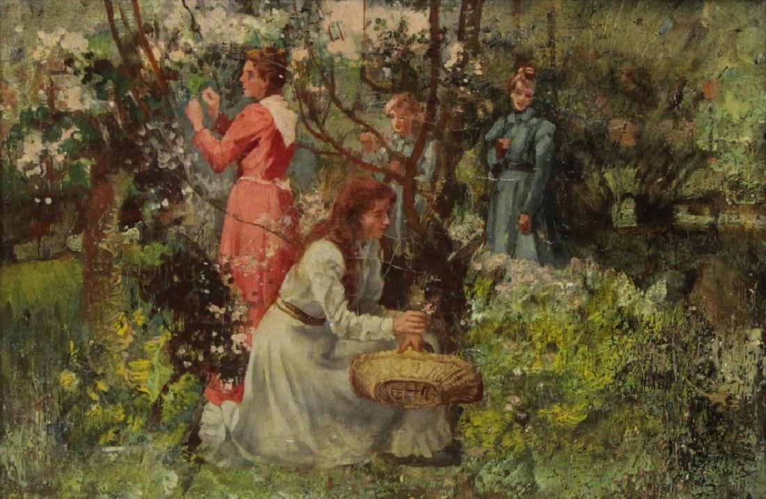 """JACQUET, Gustave. Oil on Canvas. """"Picking Flowers"""""""