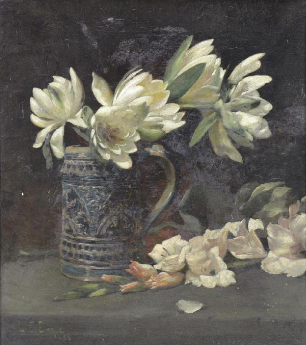EARLE, Lawrence C. Oil on Canvas. Still Life with
