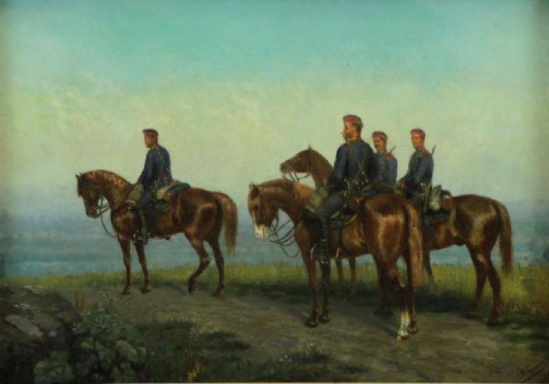 Signed 19th C. Russian Oil on Canvas. Cavalry in