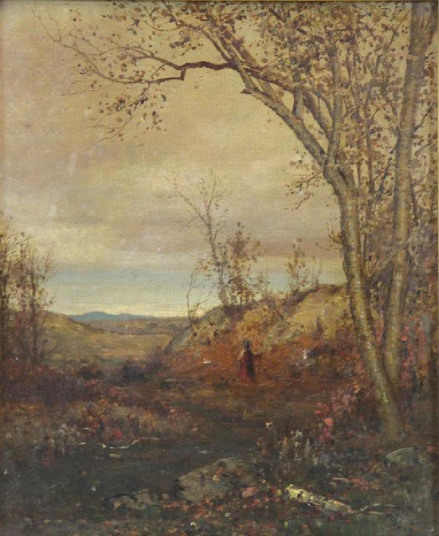 MCENTEE, Jervis. Oil on Canvas. Wooded Landscape.
