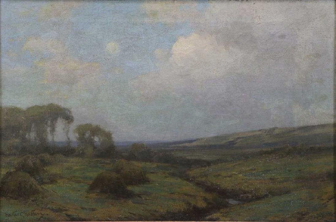 """HARTSON, Walter. Oil on Canvas. """"Moonrise at"""