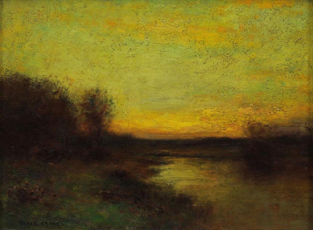 CRANE, Bruce. Oil on Canvas. Landscape at Sunset.