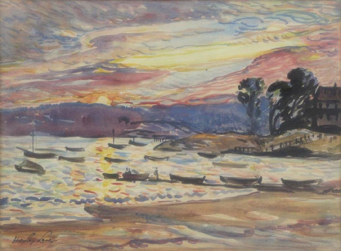 LEVER, Hayley. Watercolor. Harbor at Sunset.