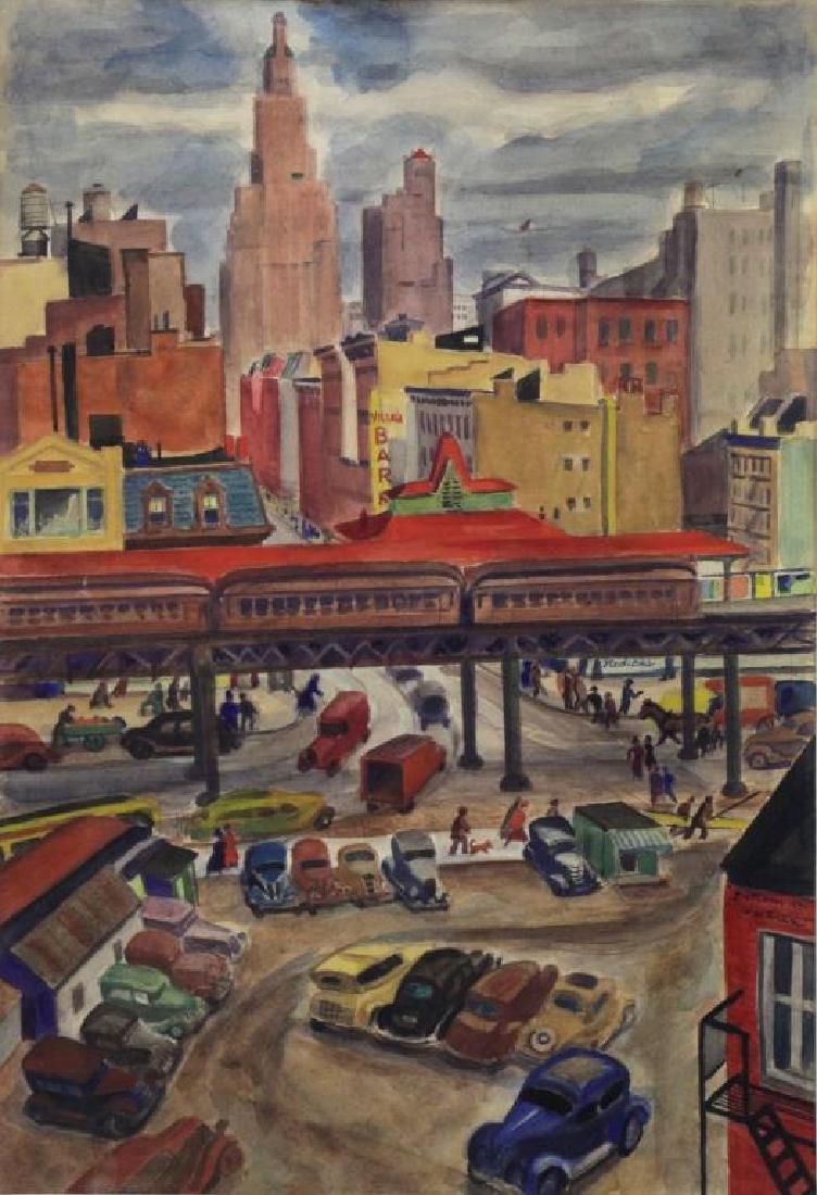 HARTMAN, Bertram. Watercolor. El Train, New York,